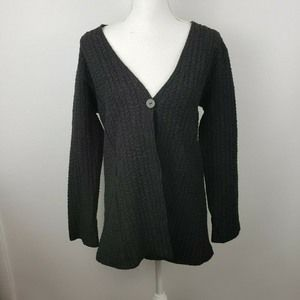 Eileen Fisher sm black crinkle cardigan top blouse
